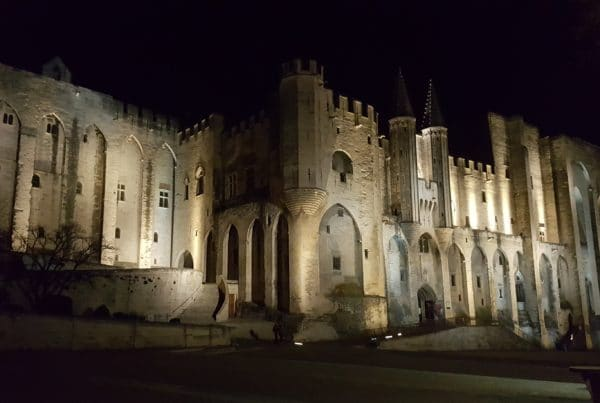 Le palais des Papes de nuit