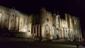 Pope palace by night